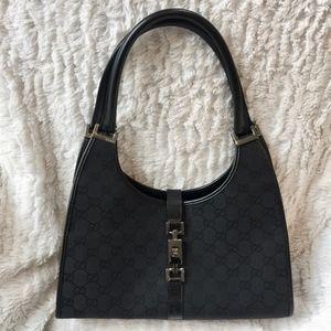 Gucci Canvas Bardot Black Monogram GG Hobo Handbag